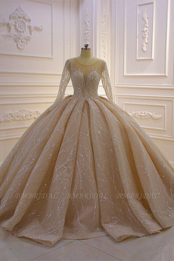 BMbridal Glamorous Ball Gown Tulle Jewel Wedding Dress Long Sleeves Ruffles Beadings Sequined Bridal Gowns Online