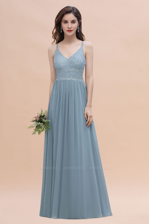 Stylish Straps V-Neck Chiffon Lace Dusty Blue Bridesmaid Dress On Sale