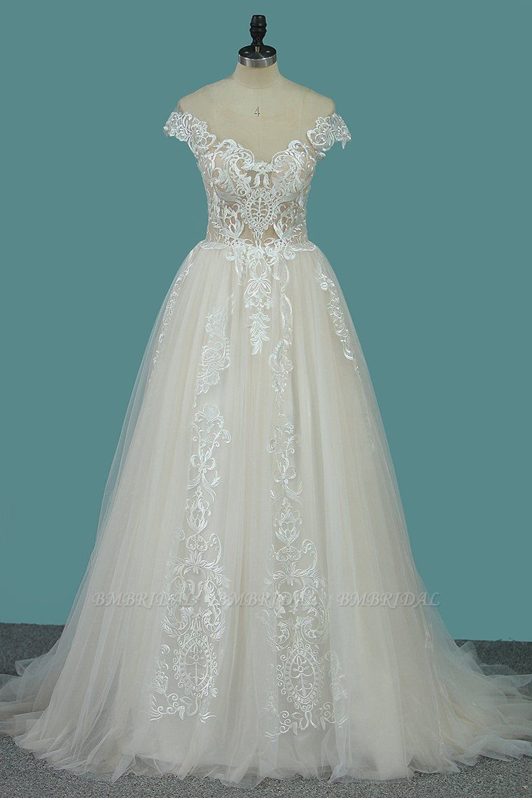 BMbridal Elegant Jewel Tulle Lace Wedding Dress Sleeveless Appliques Ruffles Bridal Gowns Online
