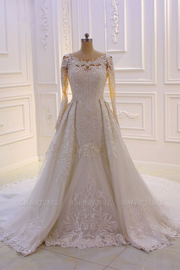 Glamorous Jewel Long Sleeves Wedding Dress Tulle Lace Bedaings Bridal Gowns Online