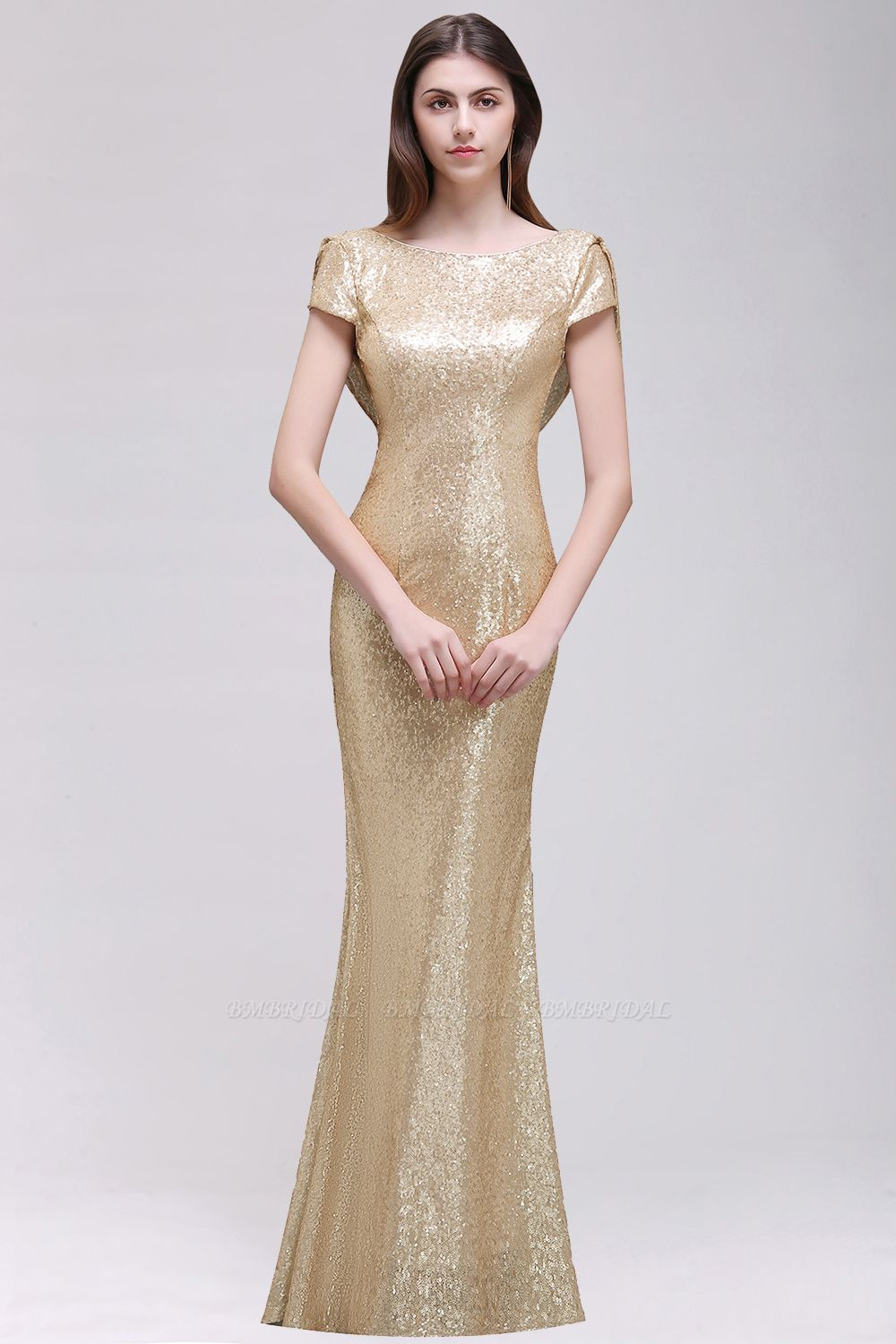 BMbridal Sparkly Sequined Jewel Sheath Prom Dress with Short Sleeves and Draped Back