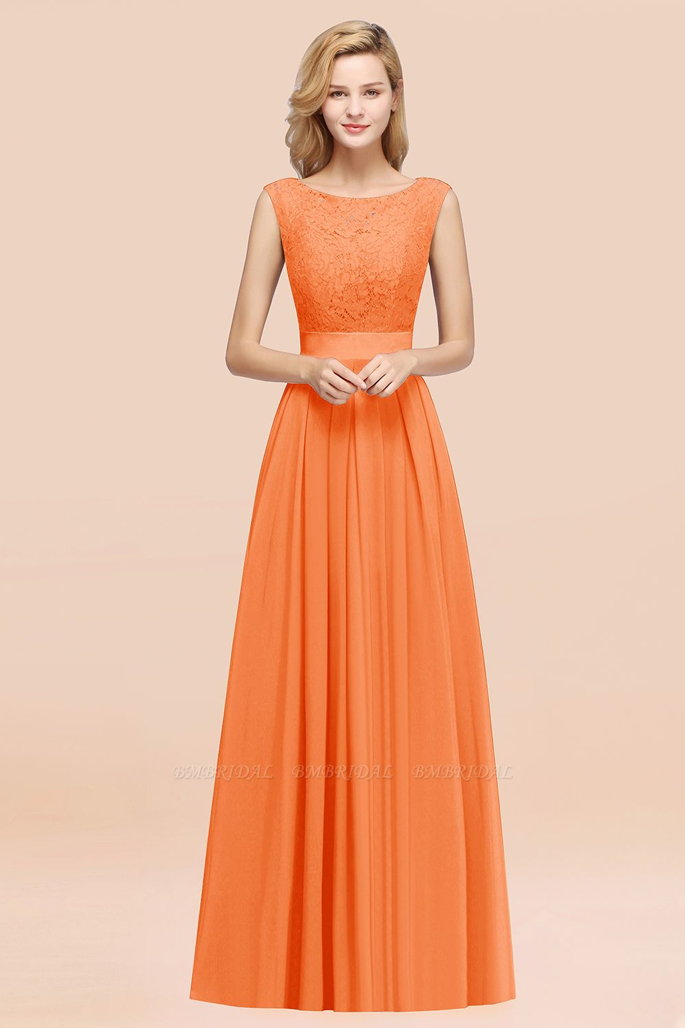 Vintage Sleeveless Lace Bridesmaid Dresses Affordable Chiffon Wedding Party Dress Online