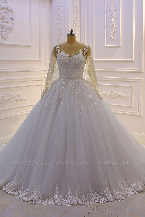 BMbridal Ball Gown Tulle Appliqus Wedding Dress Long Sleeves Jewel Beading Ruffles Bridal Gowns On Sale