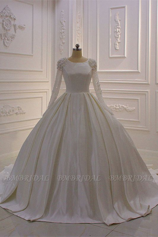 BMbridal Ball Gown Satin Long Sleeves Wedding dress Jewel Ruffles Flowers Bedaings Bridal Gowns On sale