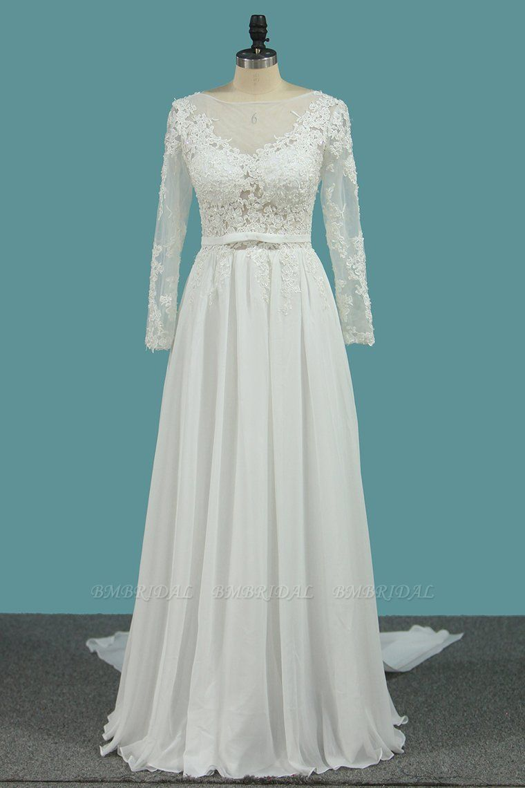 Elegant Jewel Long Sleeves Wedding Dress Chiffon Tulle Lace Ruffles Bridal Gowns Online