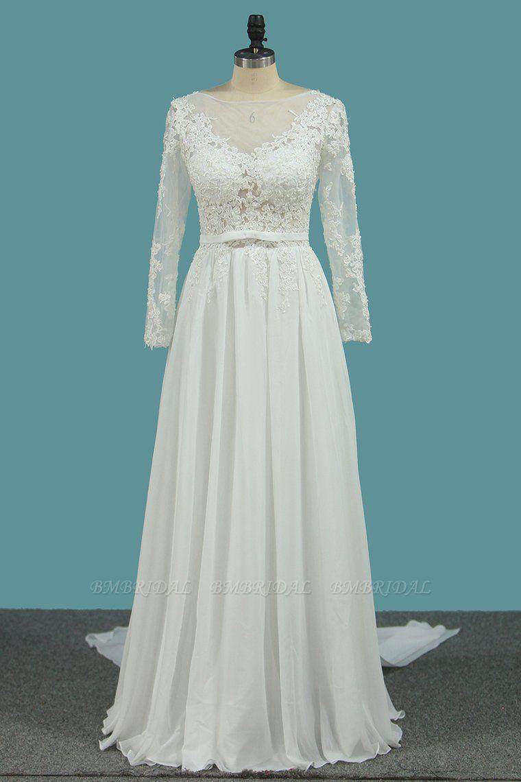 BMbridal Elegant Jewel Long Sleeves Wedding Dress Chiffon Tulle Lace Ruffles Bridal Gowns Online