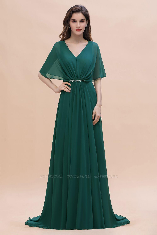 BMbridal Gorgeous V-Neck Chiffon Ruffles Beading Bridesmaid Dress with Half Sleeves