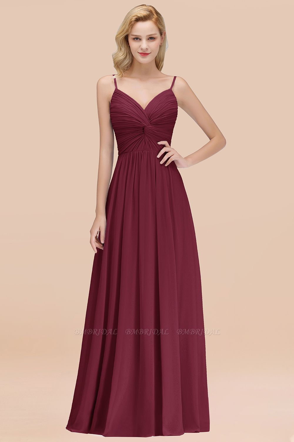 BMbridal Chic V-Neck Pleated Backless Bridesmaid Dresses with Spaghetti Straps