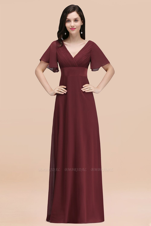 BMbridal Affordable V-Neck Ruffle Long Burgundy Bridesmaid Dress With Short-Sleeves