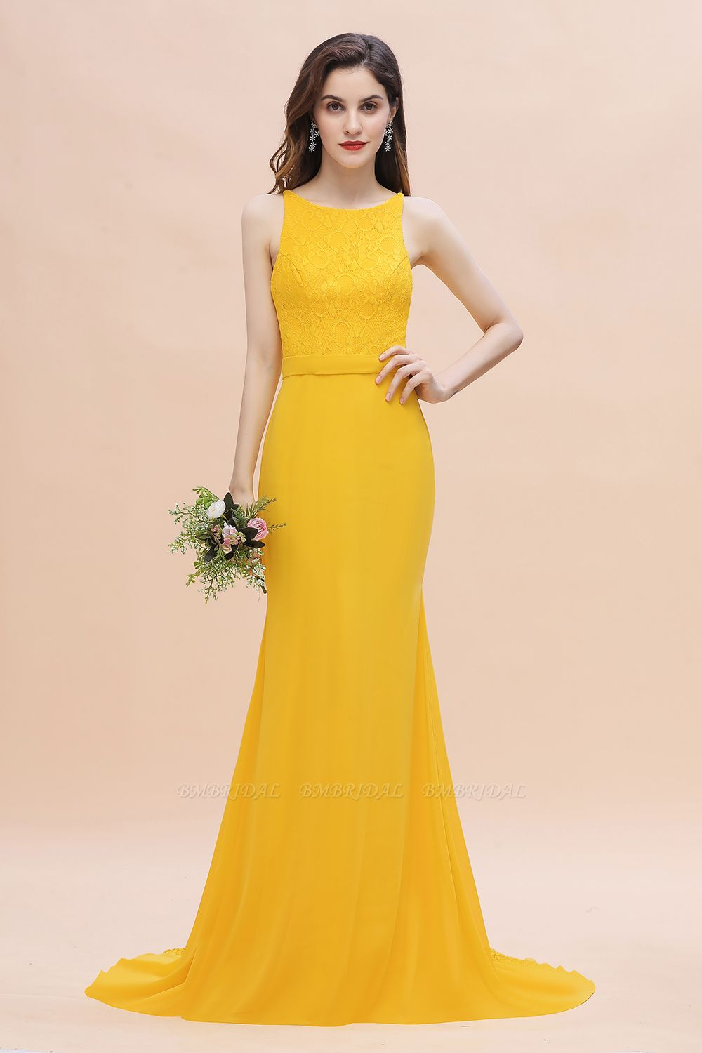 BMbridal Elegant Jewel Mermaid Chiffon Lace Bridesmaid Dress On Sale
