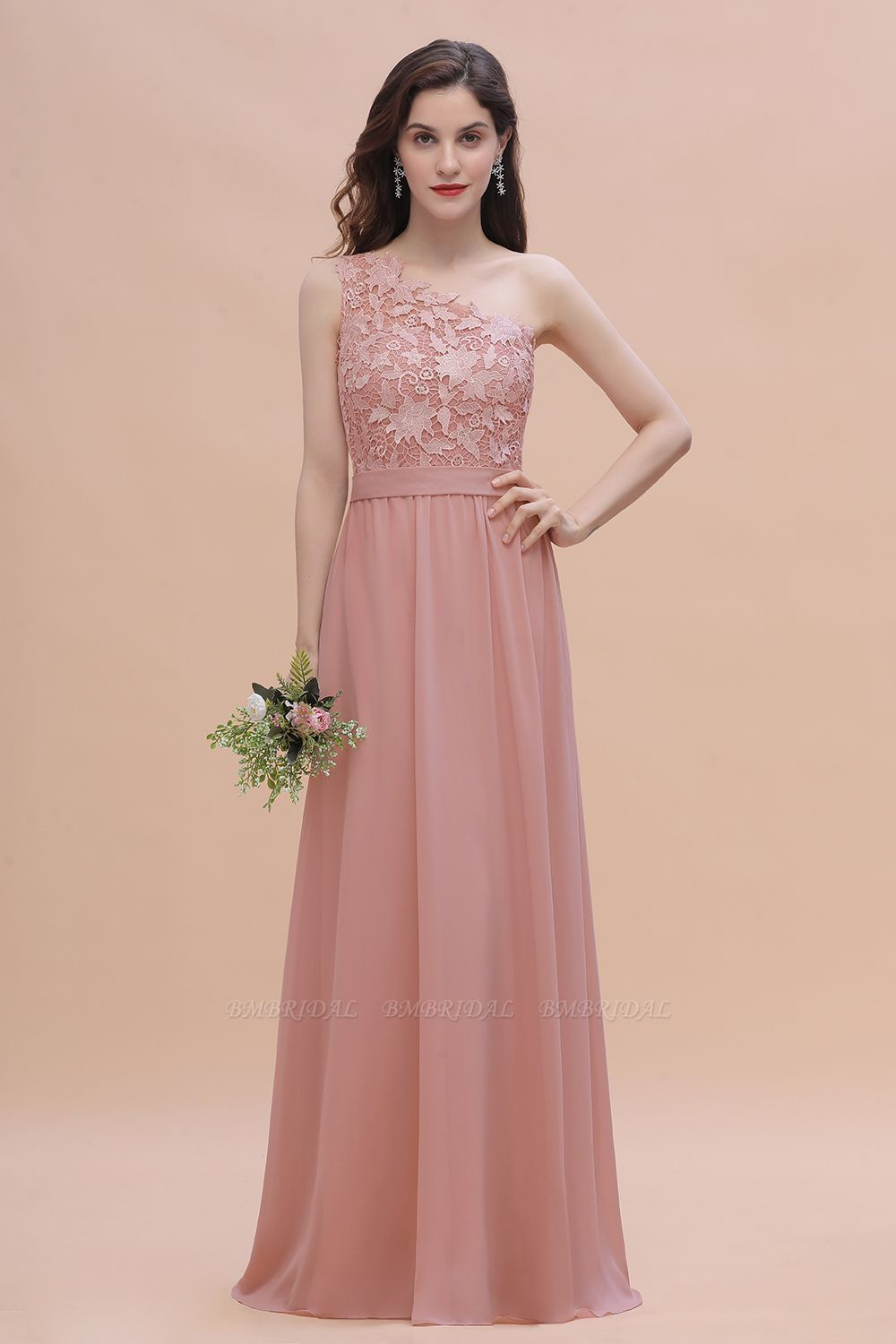 BMbridal Chic One Shoulder Chiffon Lace Vintage Mauve Bridesmaid Dress On Sale
