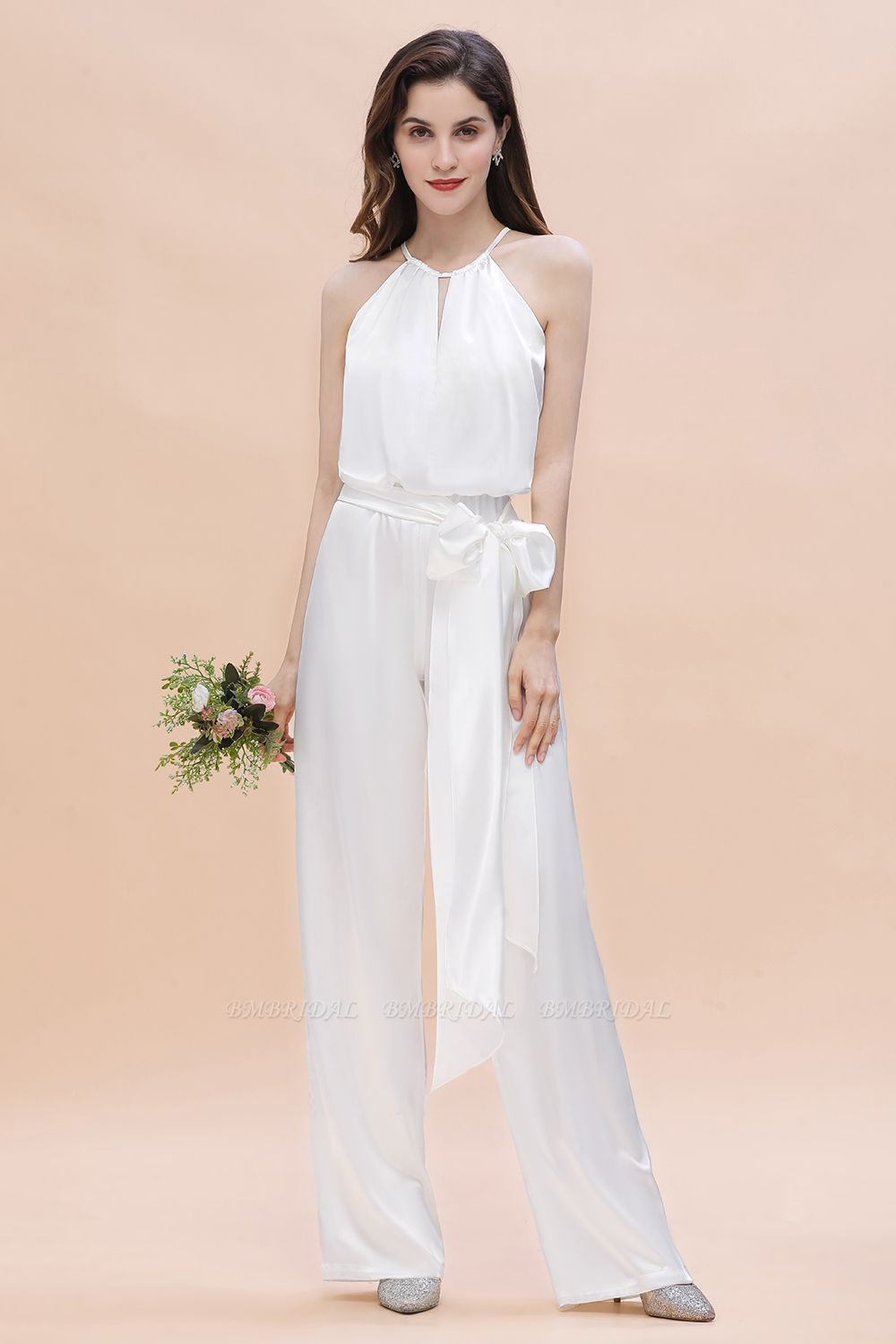 BMbridal Affordable Halter Sleeveless Ivory Charmeuse Bridesmaid Jumpsuit Online