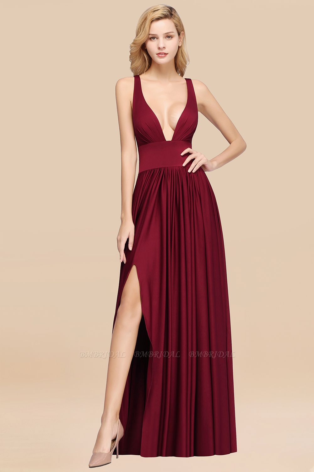 BMbridal Sexy Deep V-Neck Sleeveless Bridesmaid Dress Burgundy Chiffon Wedding Party Dress