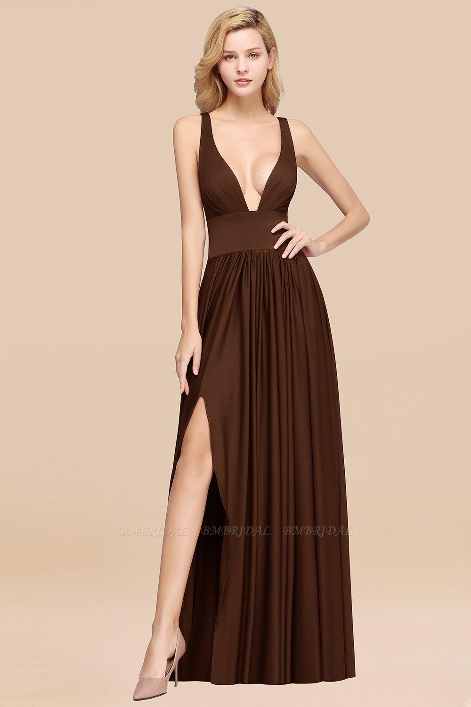 BMbridal Sexy Deep V-Neck Sleeveless Bridesmaid Dress Burgundy Chiffon Wedding Party Dress