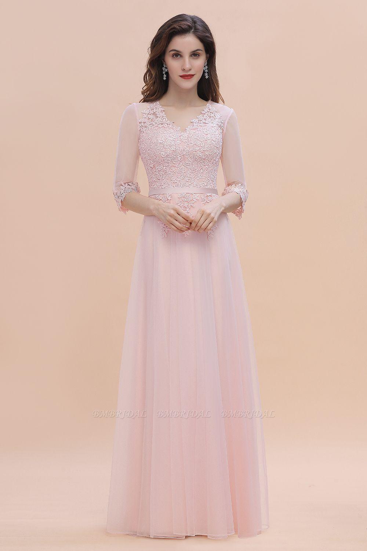 BMbridal Elegant V-neck Half Sleeves Lace Pink Bridesmaid Dress On Sale