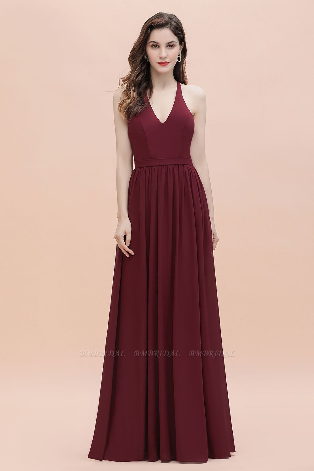 BMbridal A-Line Lace Burgundy Bridesmaid Dress Lace Sequins Sleeveless Evening Dress