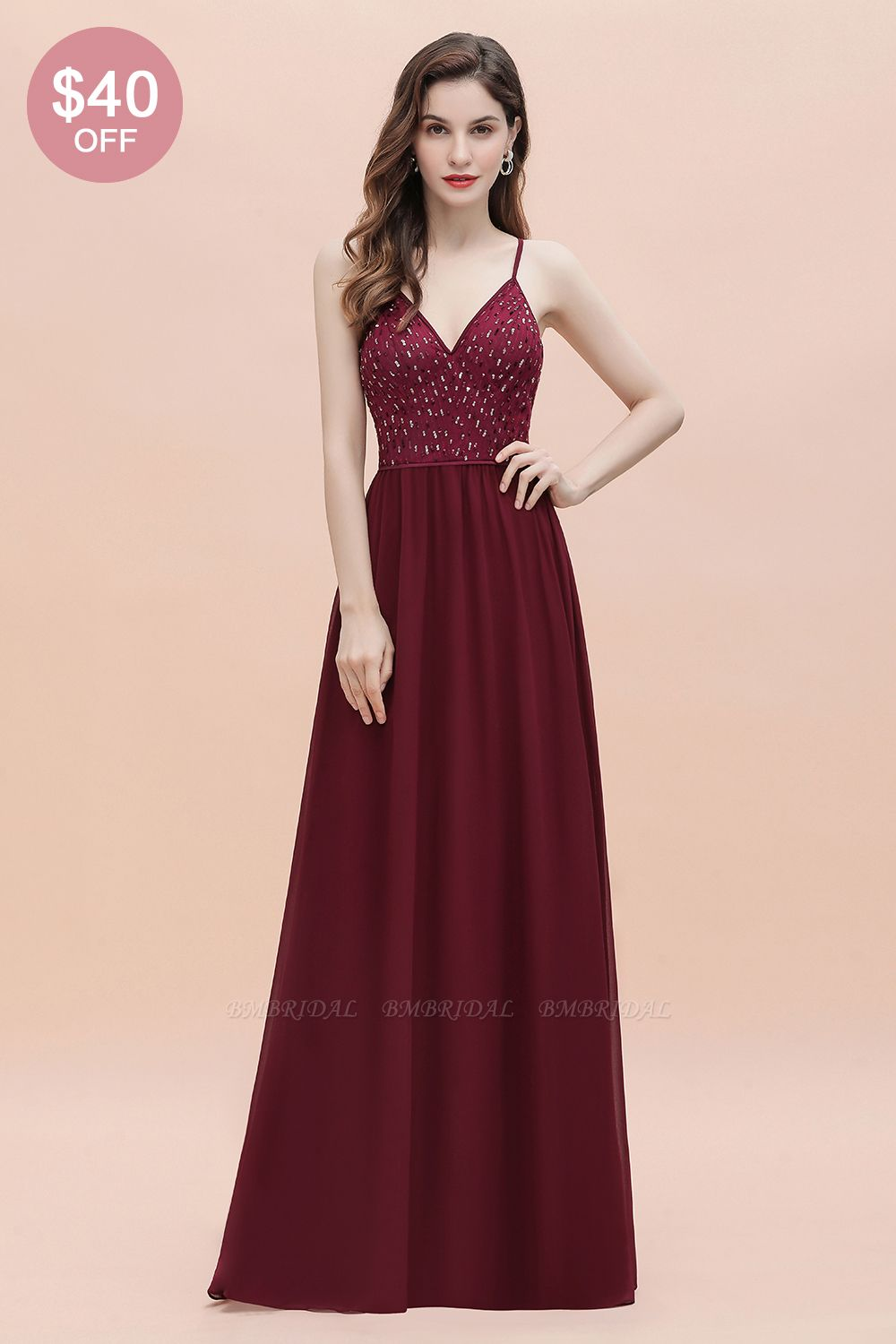 BMbridal Fabulous A-line Burgundy Chiffon Bridesmaid Dress V-Neck Spaghetti Straps Sequins Evening Dress