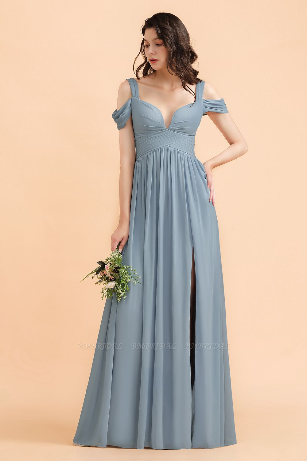 BMbridal Sexy Cold-Shoulder Dusty Blue Chiffon Bridesmaid Dress with Slit On Sale