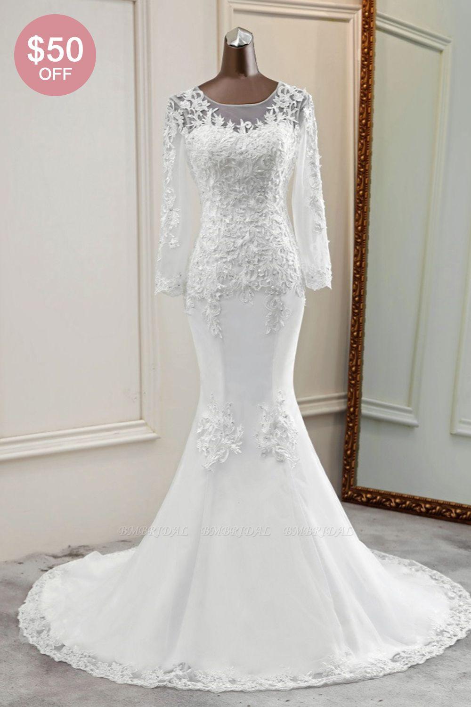 BMbridal Elegant Jewel Lace Mermaid White Wedding Dresses Long Sleeves Appliques Bridal Gowns