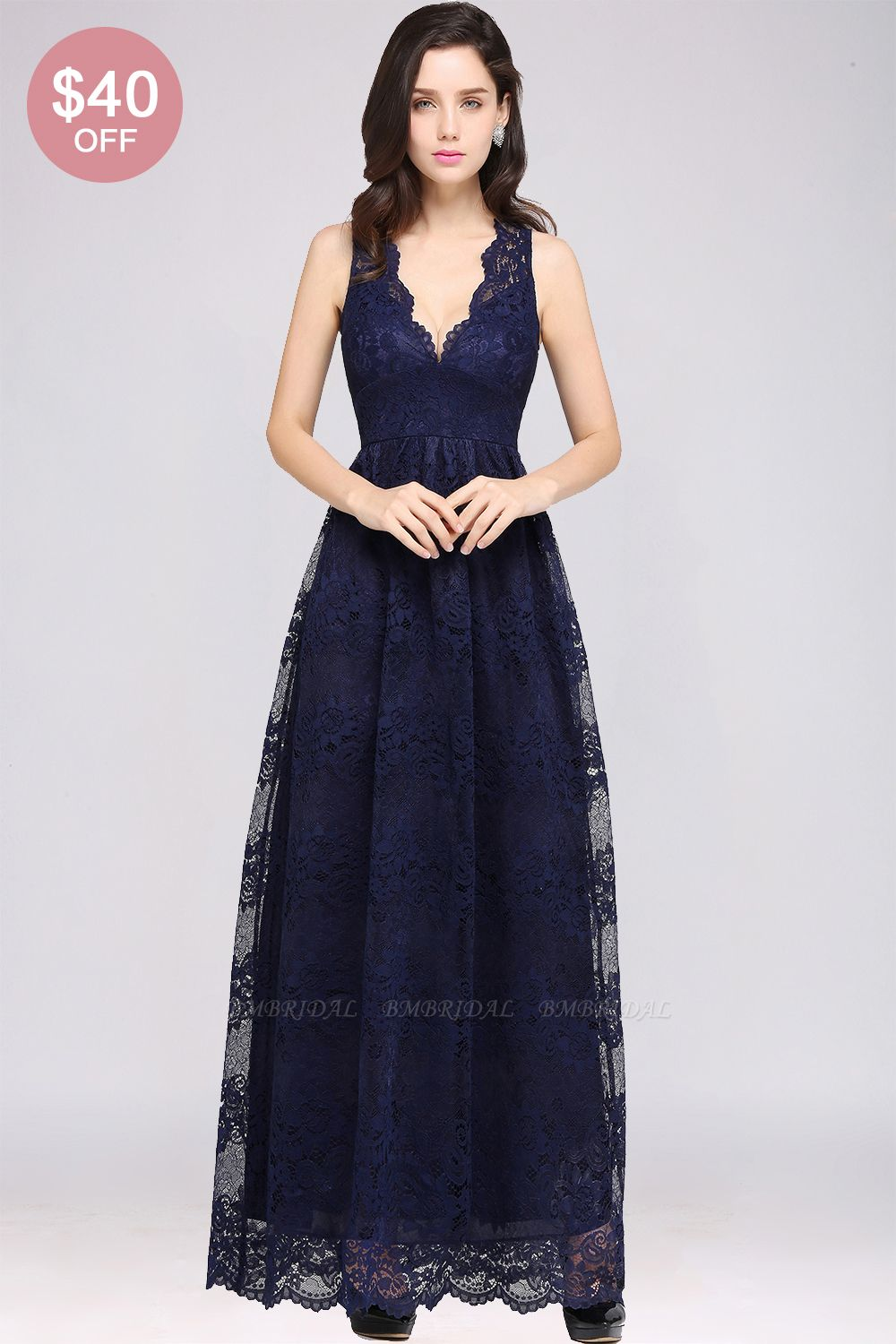 BMbridal Chic Sheath V-Neck Navy Lace Bridesmaid Dresses Online In Stock