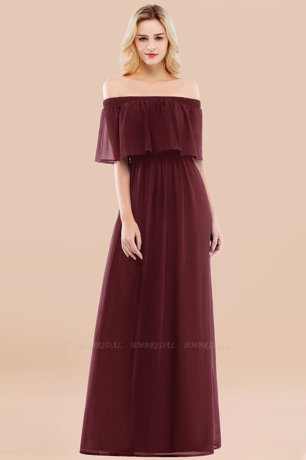 BMbridal Vintage Off-the-Shoulder Long Burgundy Bridesmaid Dress with Ruffle