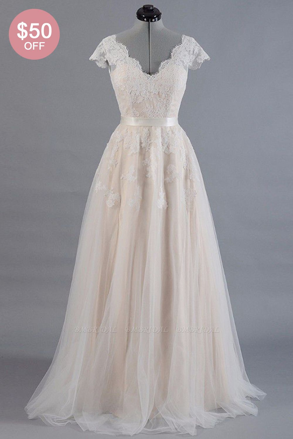 BMbridal Affordable V-neck A-line Wedding Dresses Shorts leeves Tulle Lace Bridal Gowns On Sale