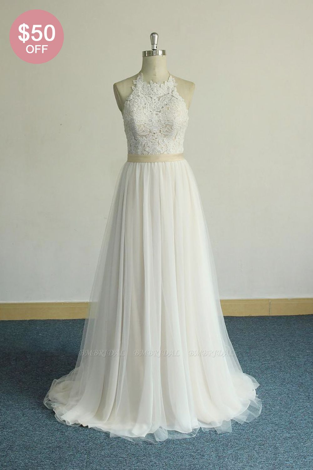 BMbridal Glamorous Halter Ivory A-line Wedding Dresses Lace Tulle Ruffles Bridal Gowns With Appliques Online
