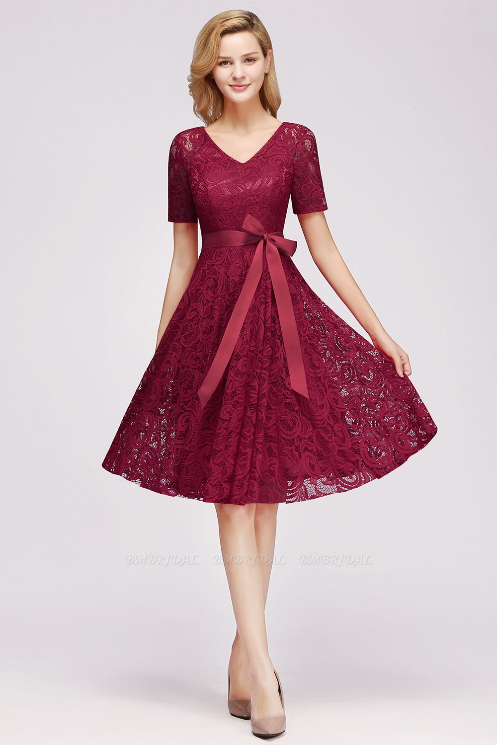 BMbridal Burgundy Lace Short Sleeve Homecoming Dress Mini Party Dress On Sale