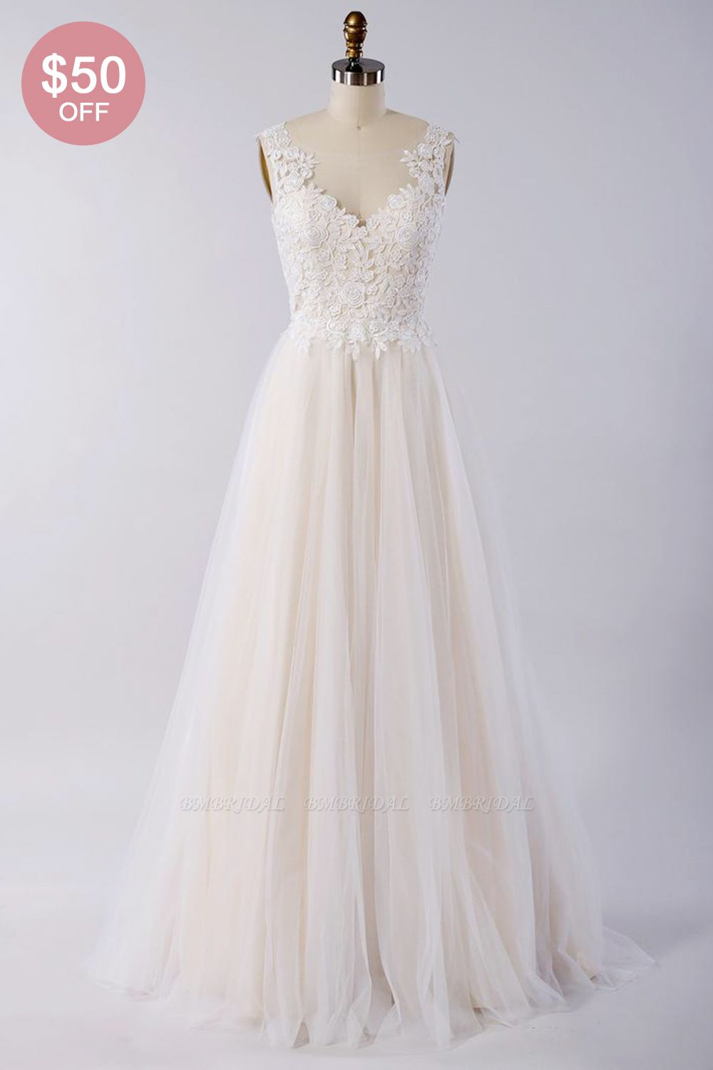 BMbridal Stylish V-neck Straps Tulle Wedding Dress Appliques A-line Ruffles Bridal Gowns On Sale