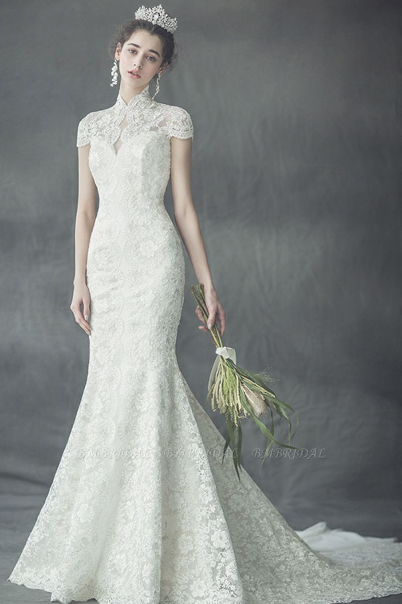 BMbridal Elegant Mermaid High-Neck Wedding Dress Luxury Lace Cap Sleeves Bridal Gowns On Sale