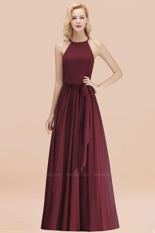 BMbridal Affordable Halter Bow Long Bridesmaid Dress Modest Burgundy Chiffon Wedding Party Dress