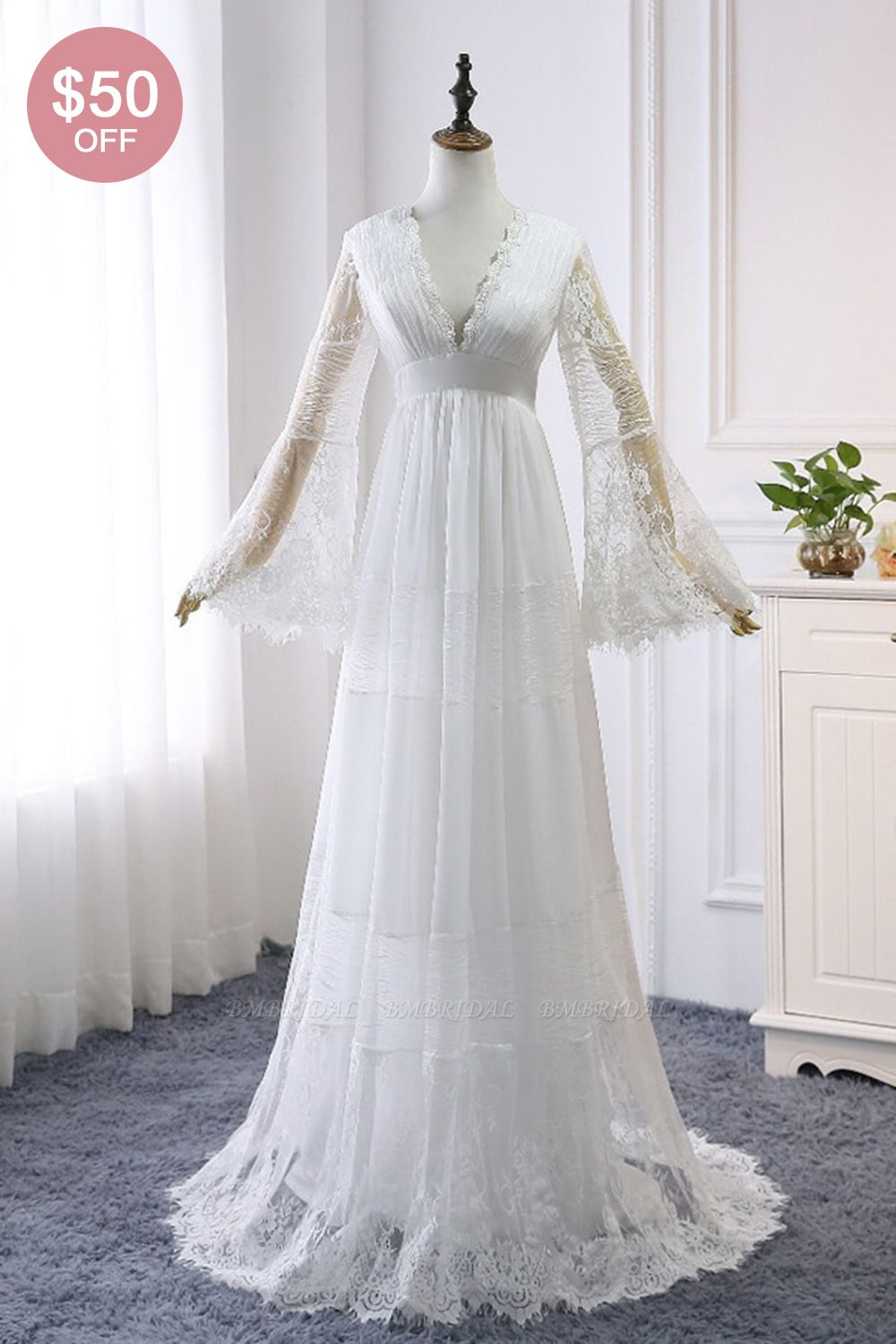 BMbridal Chic Empire Lace Tulle Wedding Dress Long Sleeves V-Neck Appliques Bridal Gowns On Sale