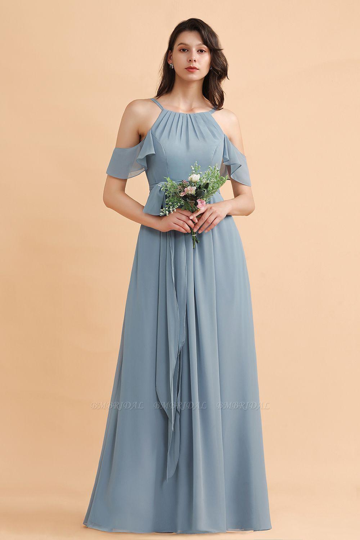 BMbridal Stylish Cold-Shoulder Ruffles Chiffon Bowknot Bridesmaid Dress with Pockets On Sale