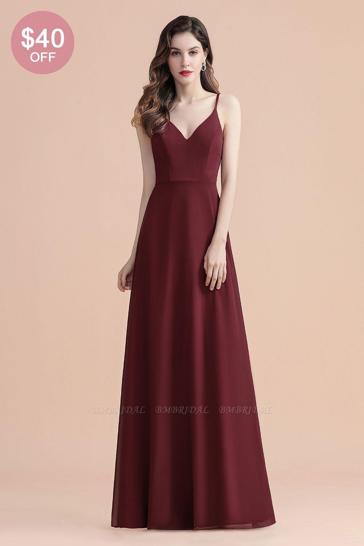 BMbridal Elegant V-Neck Burgundy Chiffon Bridesmaid Dress Lace Sequins Spaghetti Straps Evening Dress