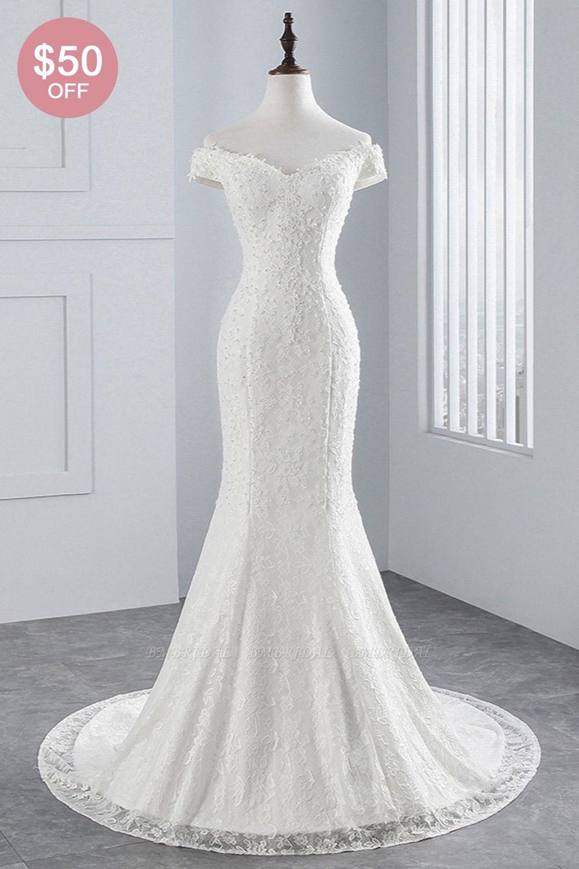 BMbridal Elegant Lace Off-the-Shoulder White Mermaid Wedding Dresses Affordable Online