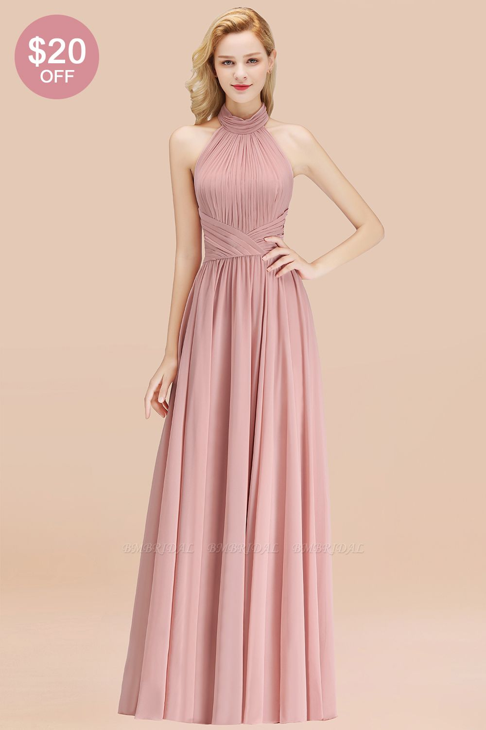 BMbridal Gorgeous High-Neck Halter Backless Bridesmaid Dress Dusty Rose Chiffon Maid of Honor Dress