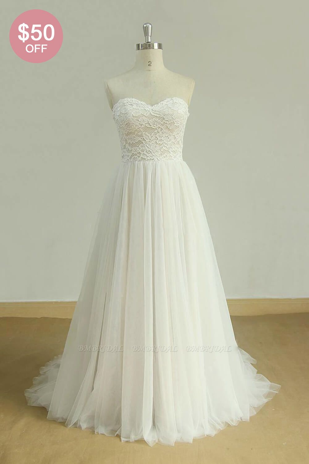 BMbridal Chic Sweetheart Lace Wedding Dress White Tulle Ruffles Bridal Gowns On Sale