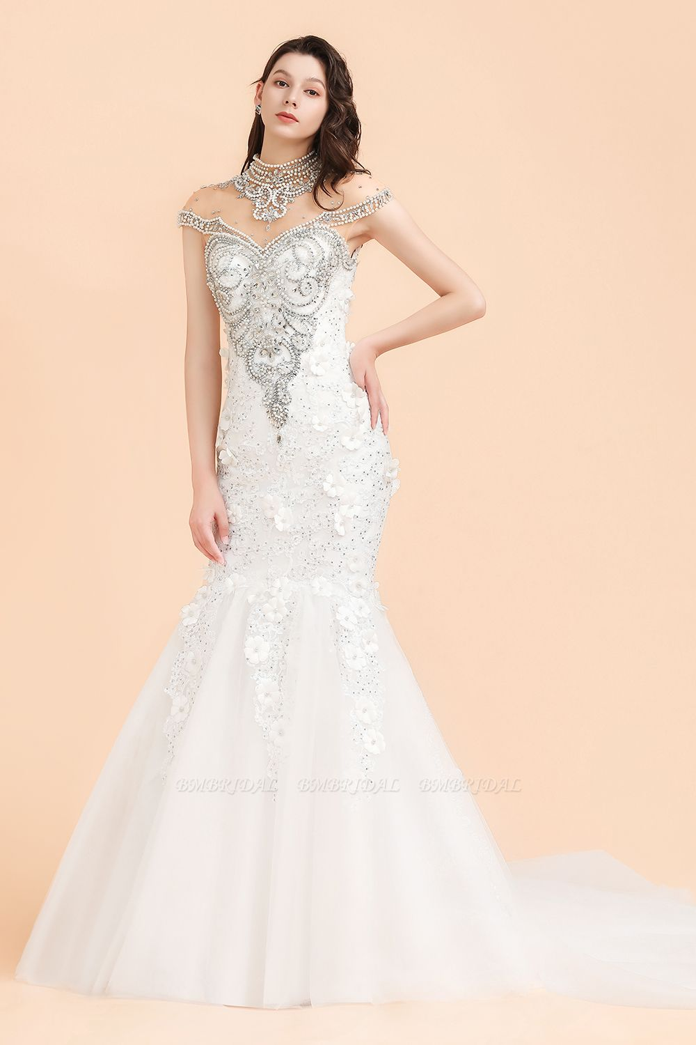 BMbridal Luxury Mermaid Wedding Dress Tulle Lace Sequins Sleeveless Bridal Gowns with Pearls