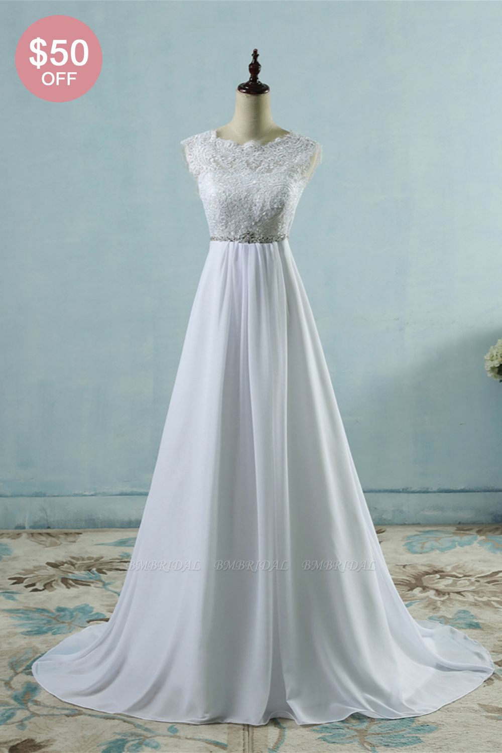 BMbridal Affordable Chiffon Jewel Lace Ruffles Wedding Dress Sleeveless Appliques Bridal Gowns with Beading Sash