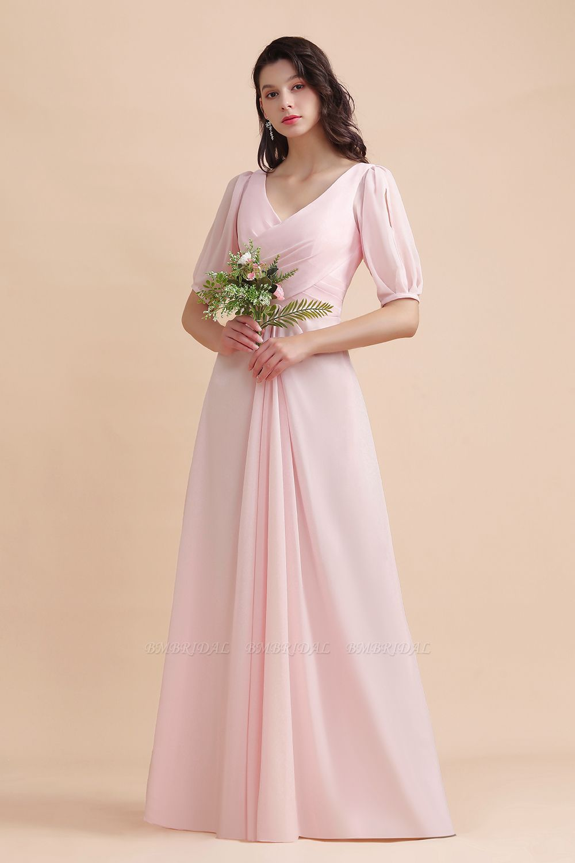 BMbridal A-Line V-Neck Chiffon Ruffles Bridesmaid Dress with Short Sleeves