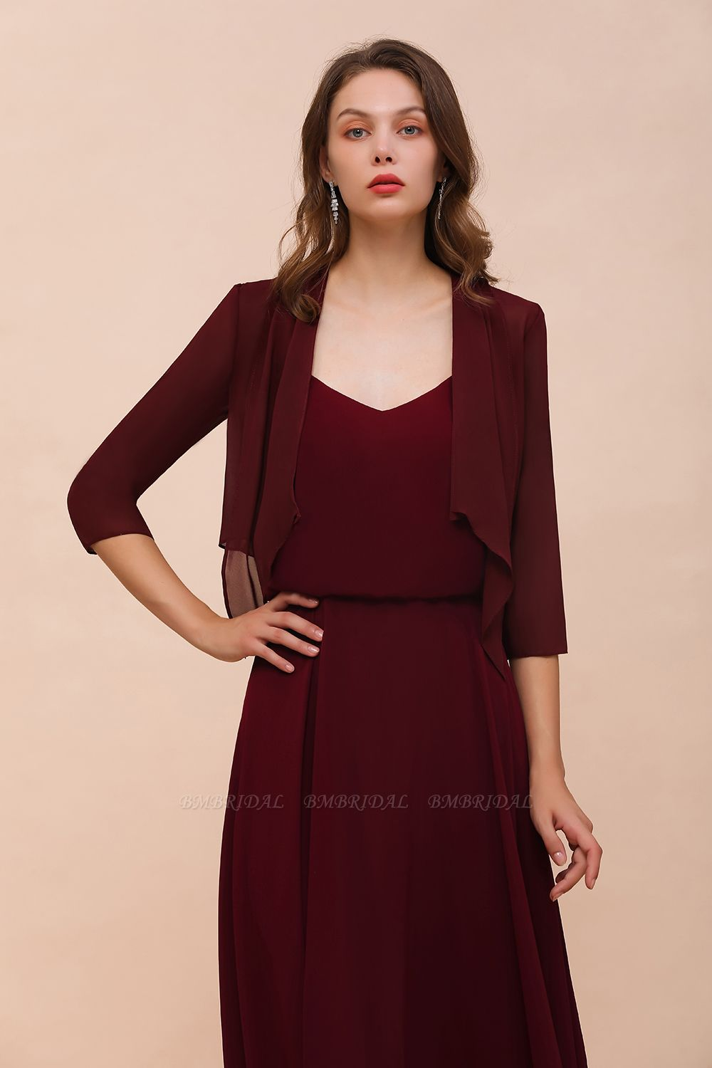 BMbridal Burgundy Chiffon Special Occasion Wraps with Half Sleeves
