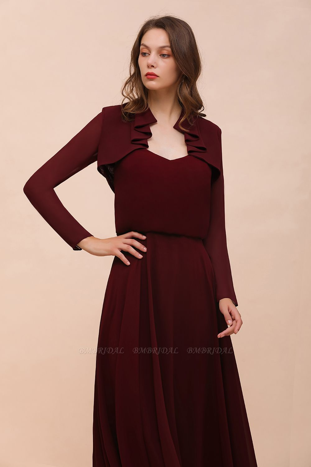BMbridal Burgundy Chiffon Wraps with Long Sleeves Online