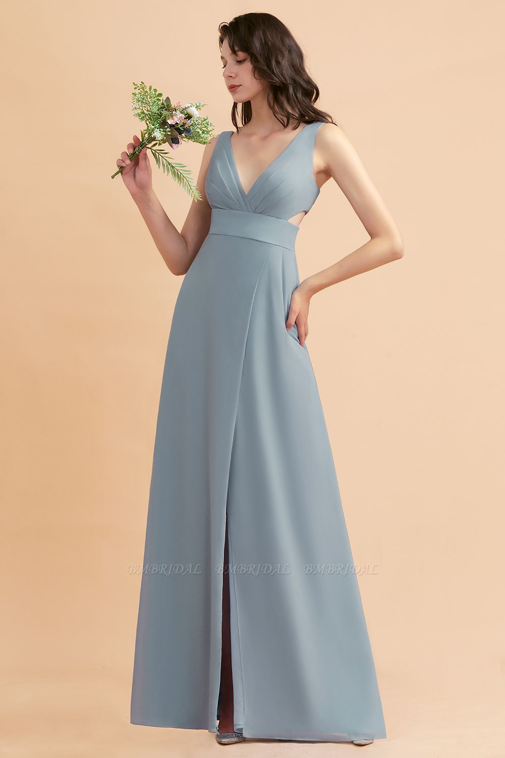 BMbridal A-Line Dusty Blue Chiffon Ruffles Bridesmaid Dress with Slit