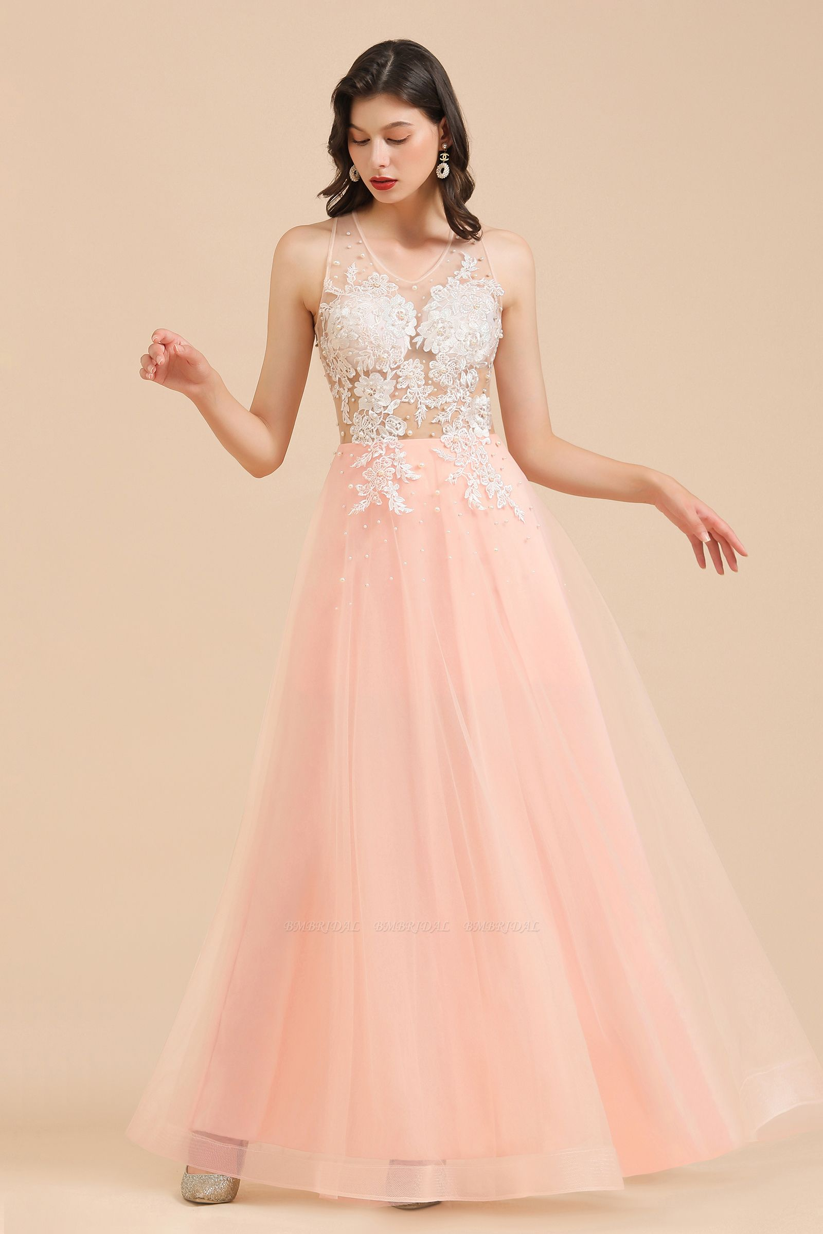 BMbridal Round Neck Lace Appliques Long Evening Prom Dress