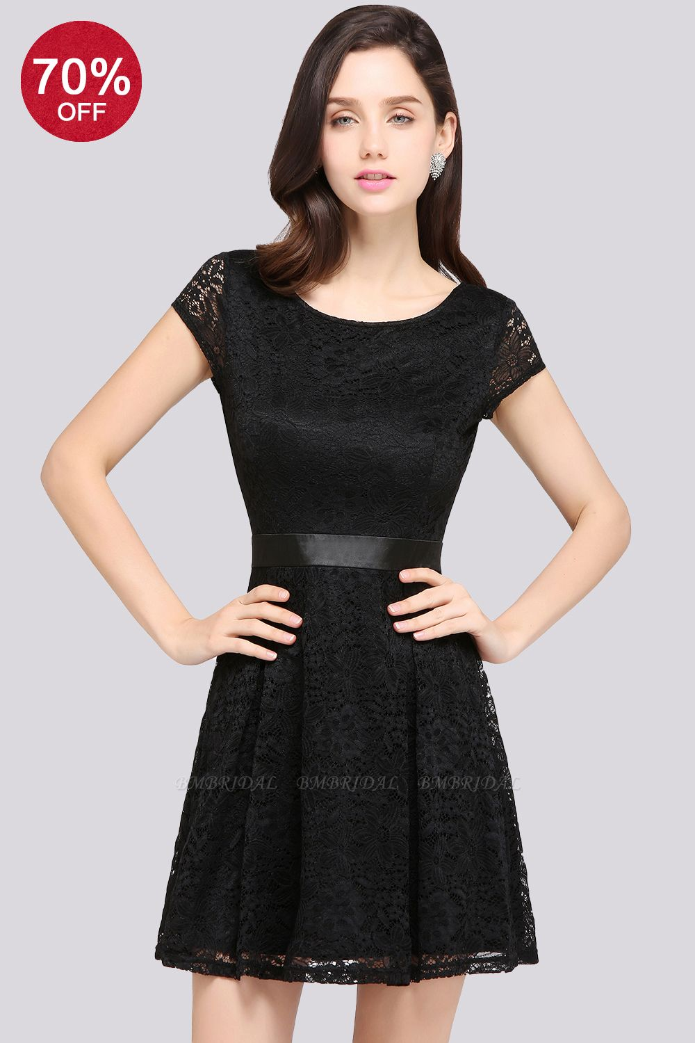 BMbridal Affordable Black Lace Short-Sleeves Junior Bridesmaid Dresses In Stock