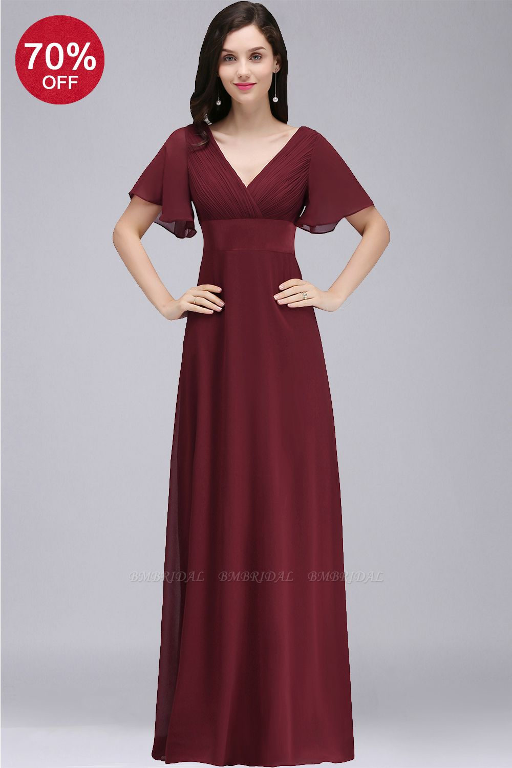BMbridal Affordable Chiffon Burgundy Long Bridesmaid Dresses with Soft Pleats In Stock