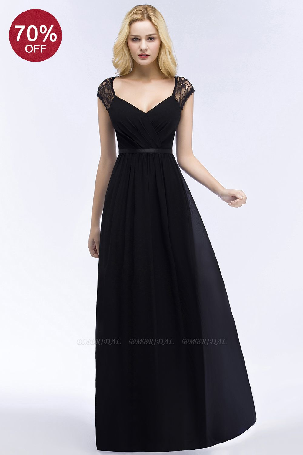 BMbridal Elegant A-line Chiffon Lace V-neck Long Affordable Bridesmaid Dresses In Stock