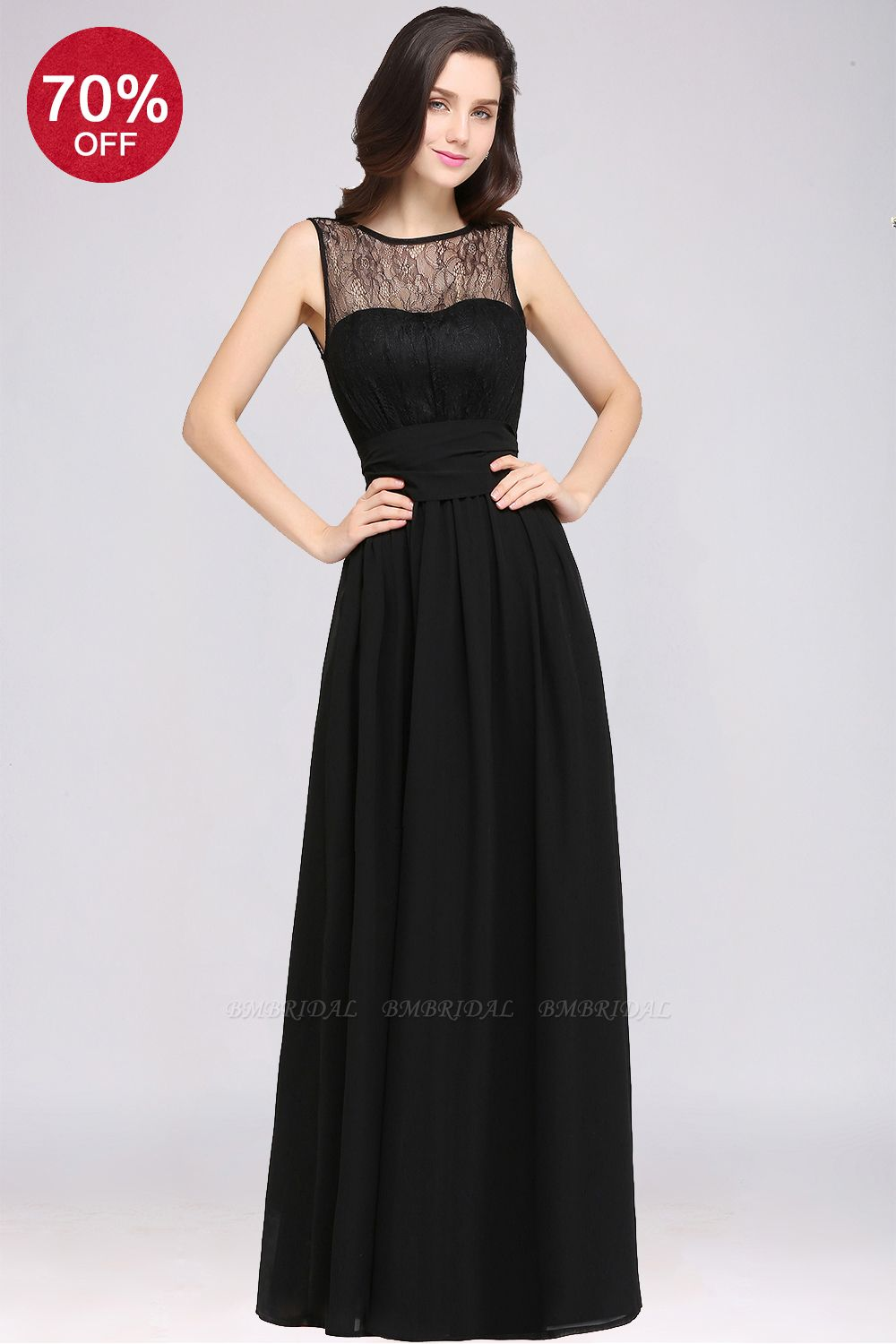 BMbridal Sexy Black Chiffon Lace Long Affordable Bridesmaid Dresses In Stock