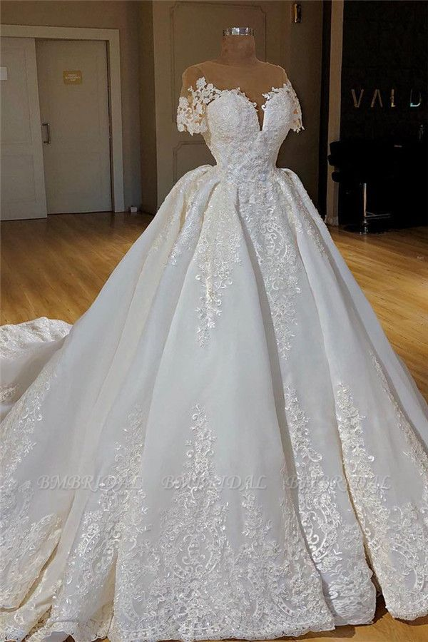 BMbridal Glamorous Shortsleeves Jewel White Wedding Dresses With Appliques A-line Lace Bridal Gowns On Sale