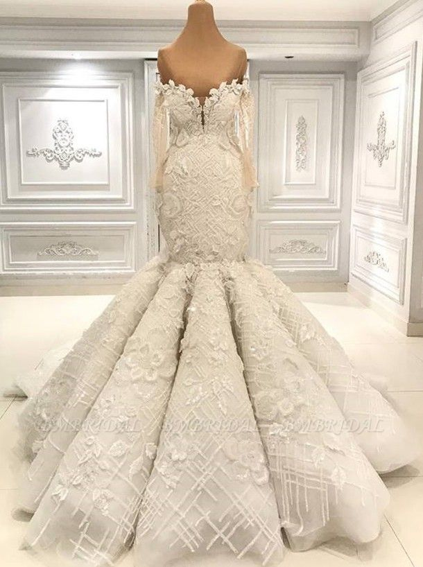 BMbridal Glamorous Halfsleeves White Mermaid Weddung Dresses Strapless Ruffles Bridal Gowns With Appliques Online